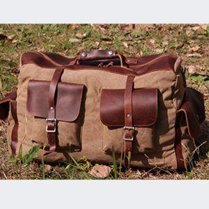 NWT Facio Canvas Travel Duffel Bag, Khaki